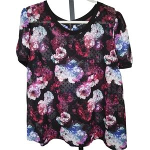 TORRID Dotted Swiss ROSE S/S TOP 1X